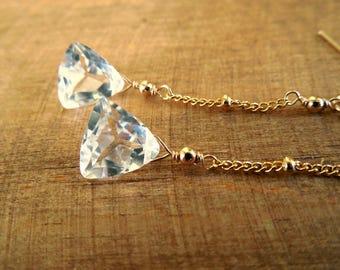 Crystal Trilliant Earrings | Clear Crystal Quartz Dangle Earrings | Gold Chain Dangle Earrings | Crystal Drop Earrings | Crystal Gemstones