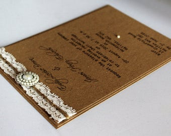 Eco Kraft Personalised Wedding/Event Invitations with Lace, Twine & Pearl Embellishment.