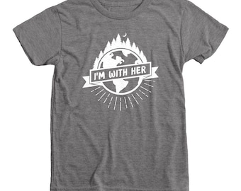 I'm With Her Shirt | Youth Eco Triblend Shirt | Environmental Shirt Kids | Climate March Kids | Climate Change | Earth Day Shirt Kids