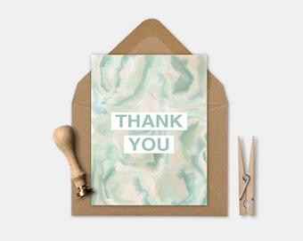 Thank you printable card, Thank you card, Watercolor printable card, Greeting card, Marble card, Printable card, Folded card, Green card
