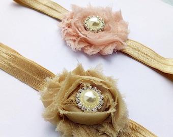 Newborn headband. Baby headband. Baby girl headband. Toddler headband. Shabby flower headband. Vintage headband.
