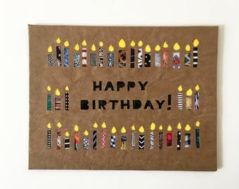 40th Birthday Card 40th Birthday Gifts For Women 40th Birthday Gift For Men Birthday Cards Handmade repurposed paper Birthday Candles