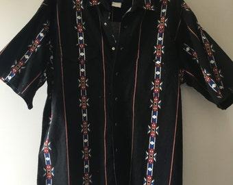 Wrangler Western Shirts Vintage Button Up Shirt Black Aztec Print