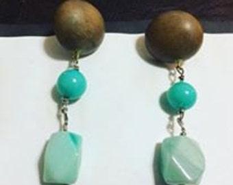 Wood, Turquoise, and Amazonite Earrings