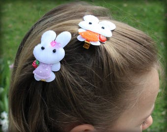Mini Bunny on Cilps,Hair, Hair Accessories, Handmade, Party,