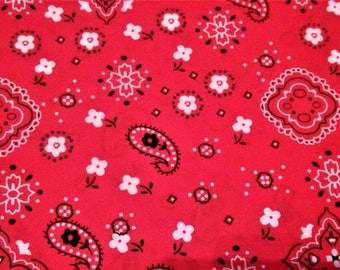 Quilting Fabric, Bandana Fabric, Clothing Fabric, Red/White/Black, Diy Material, Craft Supplies, Sewing Material, Yard/Half Yard/Fat Quarter