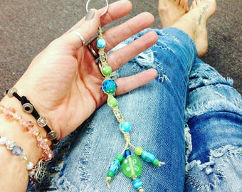 Boho beaded hemp keychain glass beads