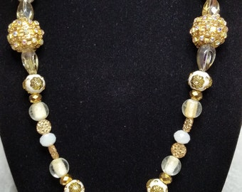 Gold , Cream and White Fashion Statement Necklace