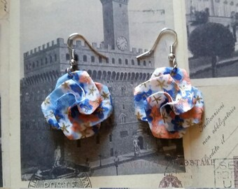 Light Blue Origami Paper Flower Earrings