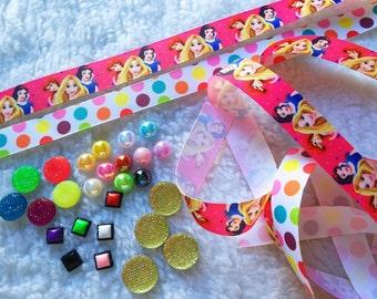 Disney,Princess,Girl,Birthday,Decoration,DYI,Craft,Proyect,Scrapbook,Grosgrain,Bow,Hair,Ribbons