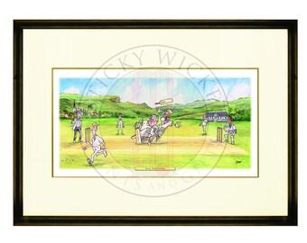 Framed Cricket Print - Ball Watching