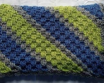 Crochet baby blanket, baby afghan, blue baby blanket, blue baby afghan, green baby blanket, green baby afghan