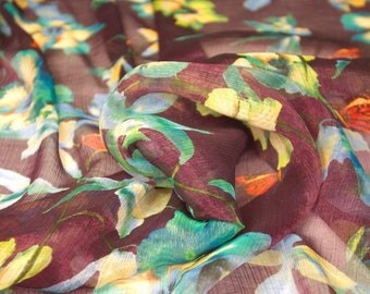 Maroon Floral Print Shimmer Fabric