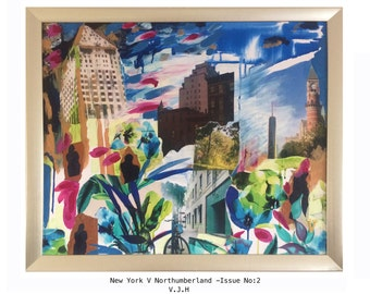 New York V Northumberland -Issue No:2   silver framed mixed media painting