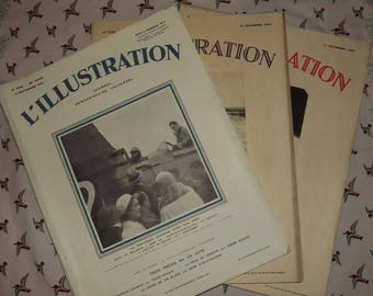 Set of 3 French Newspaper L' Illustration - 1930s Advertising and Newspaper