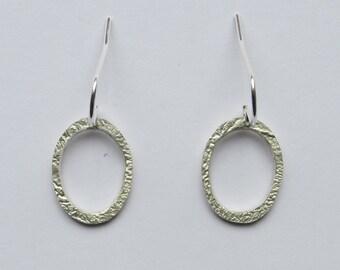 Oval earrings, silver oval earrings, dangle earrings, silver oval drop earrings, contemporary jewellery, silver dangle earrings