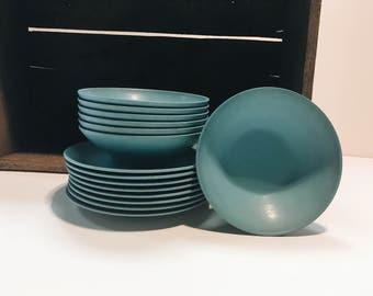 Vintage set of Teal Melamine Dessert Plates and Bowls