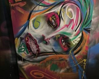 Painting Ziggy Bowie- 30x40