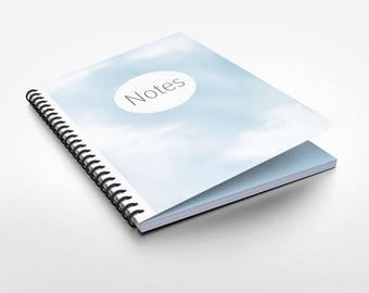Sky blue dotted with Innenprint, spiral binding and soft touch cover note book A5