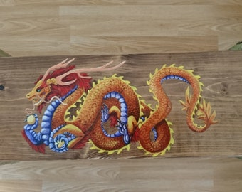 Hand made, hand painted, unique side table - Oriental dragon