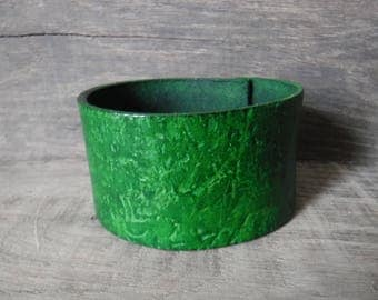 Womens Leather Cuff Bracelet Distressed Rustic Forest Green Handmade Statement Bold Jewelry Gift  Mothers Day