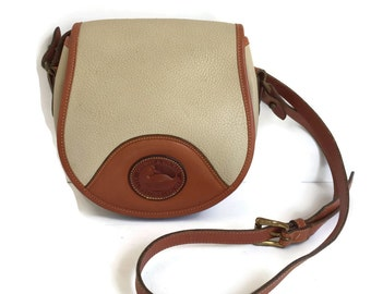 Vintage Dooney and Bourke Crossbody Bag Beige AWL with British Tan Trim, Saddle Bag Purse, Small D and B Purse, Classic Dooney Bag