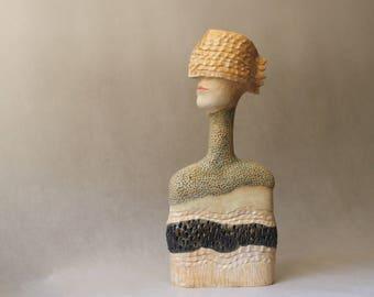 Ceramic Sculpture , Clay Sculpture , Art Object ,  Man's Bust ,  Ceramic Art , Unique Sculpture , Ceramic , Pottery