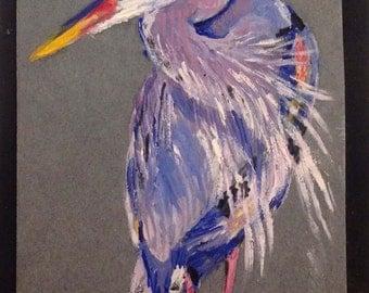 A Heron Original Miniature Oil Painting by Anna Pchelka Print