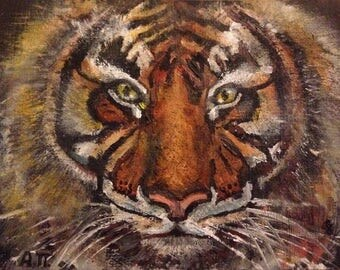 ACEO original oil painting Tiger by Anna Pchelka Print