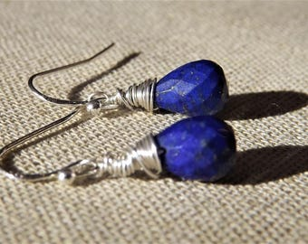 Lapis Lazuli Earrings, Lapis Lazuli Drop, Drop Earrings, Dangle Earrings, Wire wrapped, Sterling silver, Gold Fill,