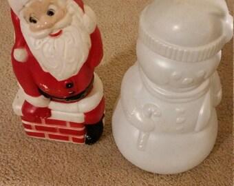 Blow Mold Plastic Santa and Snowman