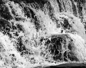 Black and White Rushing Waterfall Photography Print Wall Art