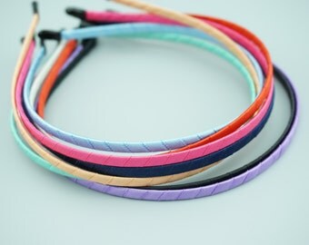 10pcs 5mm Metal Ribbon Wrapped Headband,Ribbon Hairband H001