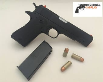 M1911 Colt 45 - Realistic Toy Gun Prop - Black Handle Pistol - w/Magazine + Bullets for Cosplay
