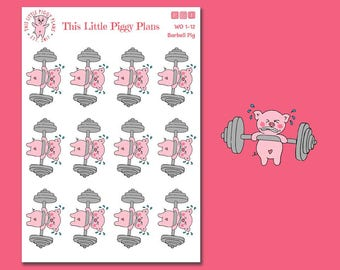 Barbell Planner Stickers - Barbell Stickers - Planner Stickers - Arm Day - Arms - Lifting Weights - Workout Stickers - Fitness - [WO 1-12]