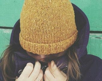knit hat mustard 100%natural handmade
