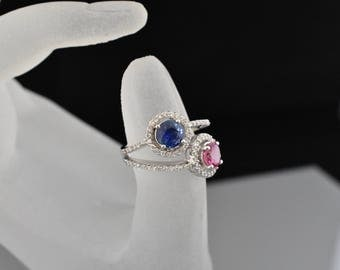 18K white gold sapphire and spinel ring