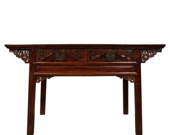 Chinese Antique Carved Zhejiang Writing Desk/Console Table 17LP12