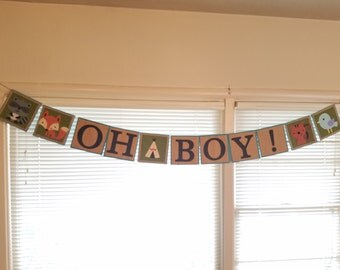 Oh Boy: Baby Shower Banner with Woodland Critters