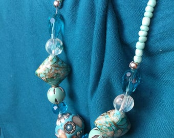 Chunky Statement Necklace Turquoise Long Necklace