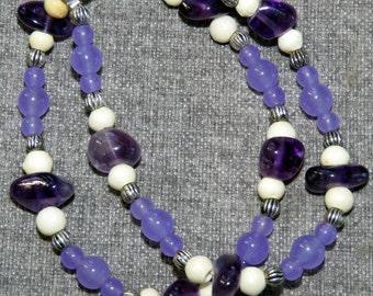 Double-round Natural Amethyst & Bone Bracelet