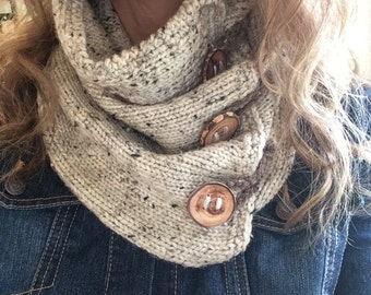 Cozy Cowl/ winter accessory/ fall fashion/ wood buttons/ crochet scarf