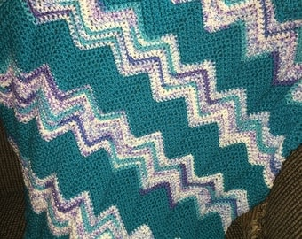 Handmade crocheted ripple afghan