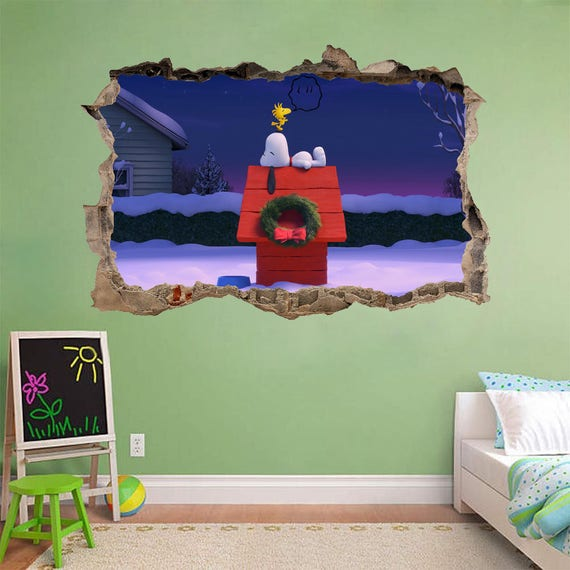 Snoopy and Woodstock Smashed Wall Decal by DecorShopDesigns