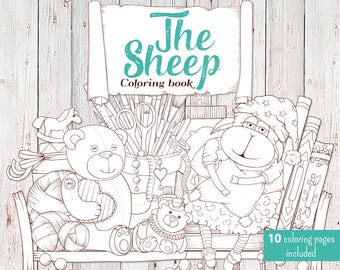 Digital coloring book. The Sheep. Coloring book 8.5'' x 8.5''