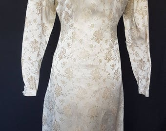 """Original 1950s gold embossed """"special occassion"""" dress"""