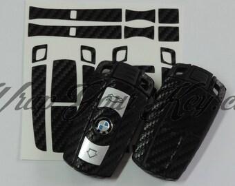 Black carbon fiber key ring sticker decal overlay BMW 1 3 5 6 Series z4 x1 3 x5 x6