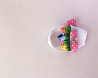 Easter Basket Ribbon Sculpture Hair Clip