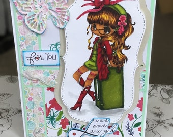 Handmade  Greeting Card for the girls