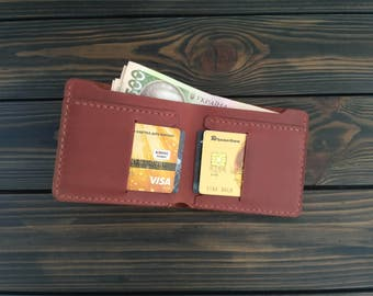 Fathers day gift, mens wallet, Brown Leather Wallet, Minimalist wallet, leather billfold, Mens gift, Boyfriend Gift, Personalized Wallet
